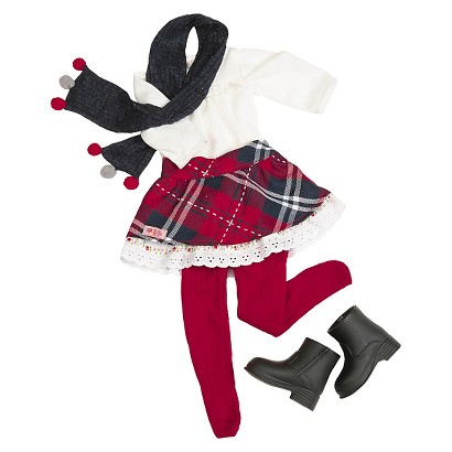 """Our Generation 18"""" Doll Outfit - Plaid Skirt with Jean Jacket"""