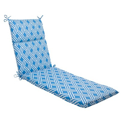 Outdoor chaise lounge cushion blue white geome target for Blue chaise cushions