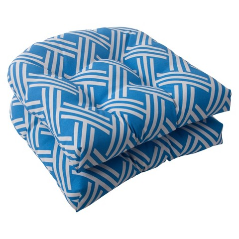 Outdoor 2-Piece Wicker Seat Cushion Set - Blue/White Geometric
