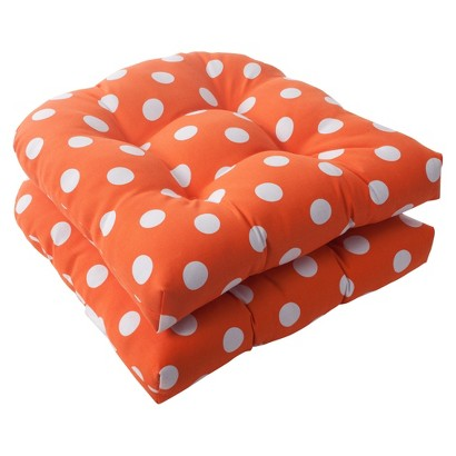 Outdoor 2-Piece Wicker Seat Cushion Set - Orange/White Polka Dot