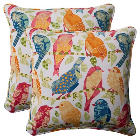 Outdoor 2-Piece Square Toss Pillow Set - Birds