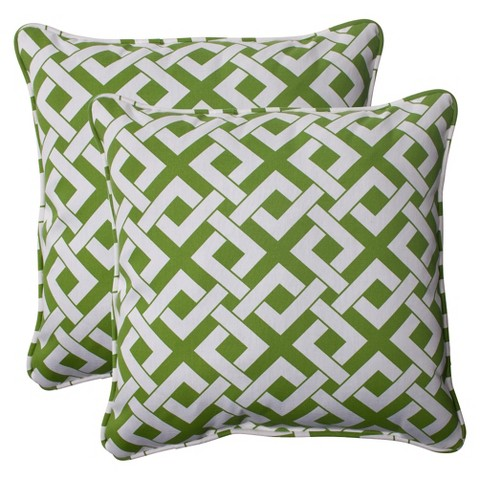 Outdoor 2-Piece Square Toss Pillow Set - Boxed In Geometric