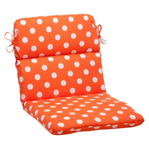 Outdoor Rounded Chair Cushion - Orange/White Polka Dot