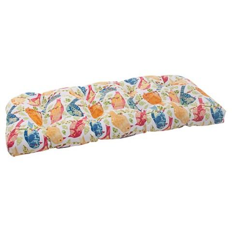 Outdoor Wicker Loveseat Cushion - Birds