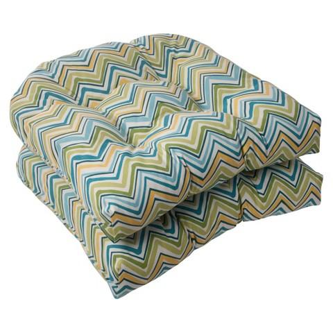 Outdoor 2-Piece Wicker Seat Cushion Set - Green/Turquoise Forssa Chevron