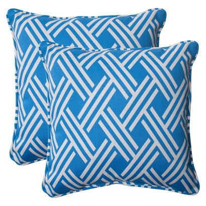 Outdoor 2-Piece Square Toss Pillow Set - Blue/White Geometric