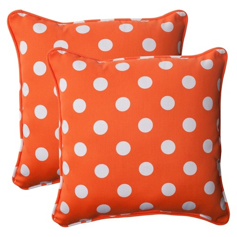 Outdoor 2-Piece Square Toss Pillow Set - Orange/White Polka Dot