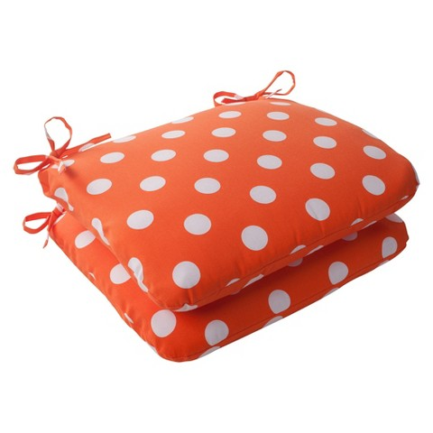 Outdoor 2-Piece Square Seat Cushion Set - Orange/White Polka Dot