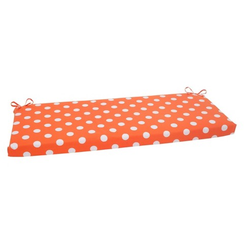 Outdoor Bench Cushion - Orange/White Polka Dot