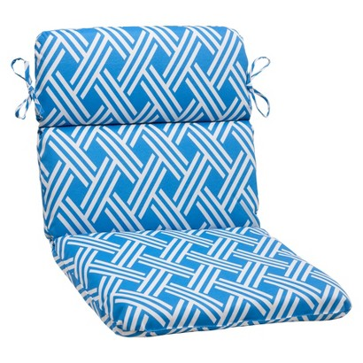 Outdoor Rounded Chair Cushion - Blue/White Geometric
