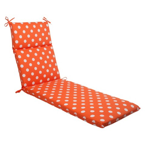 Outdoor Chaise Lounge Cushion - Orange/White Polka Dot