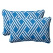 Outdoor 2-Piece Lumbar Toss Pillow Set - Blue/White Geometric