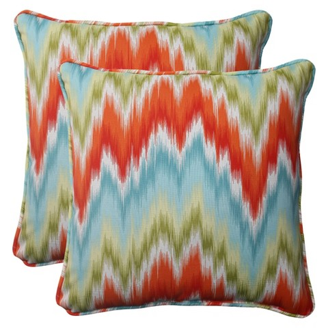 Outdoor 2-Piece Square Toss Pillow Set - Orange/Red Chevron