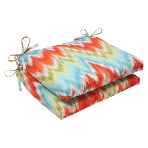 Outdoor 2-Piece Square Seat Cushion Set - Orange/Red Chevron