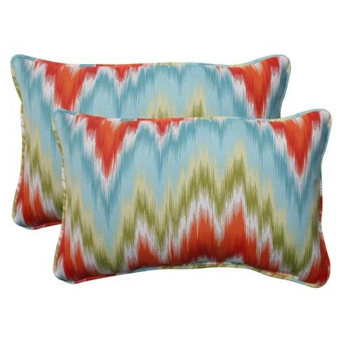 Outdoor 2-Piece Lumbar Toss Pillow Set - Orange/Red Chevron