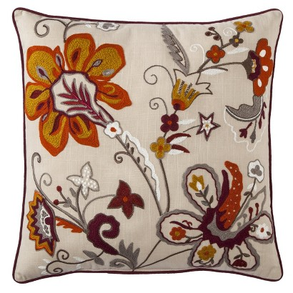 "THRESHOLD™ EMBROIDERED FLORAL TOSS PILLOW - MADDER ROOT (18X18"")"