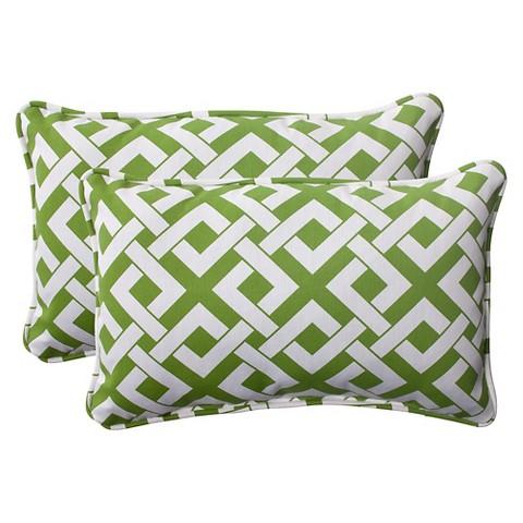 Outdoor 2-Piece Lumbar Toss Pillow Set  - Boxed In Geometric