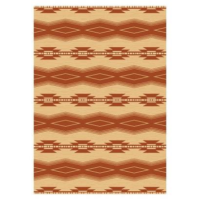 "Taos 7'10""x11' Rectangular Soutwestern Patio Rug - Terracotta/Sand"