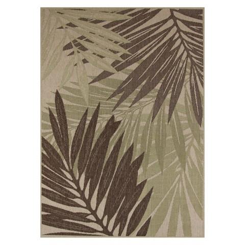 Maywood Rectangular Patio Rug - Green/Sand Leaf