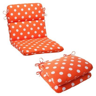 Outdoor Cushion & Pillow Collection - Orange/White Polka Dot