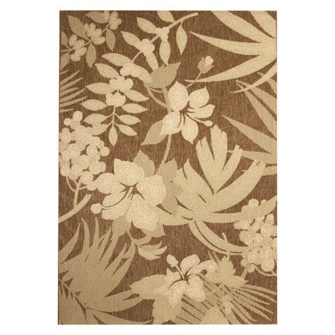 "Botanical 5'3""x7'5"" Rectangular Patio Rug - Chestnut/Green Floral"