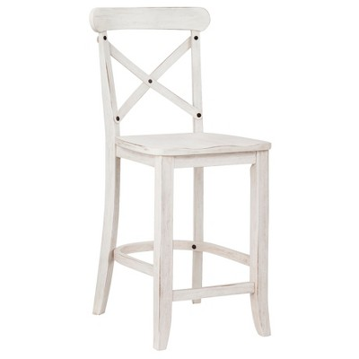 "French Country X-Back 24"" Counter Stool - White"