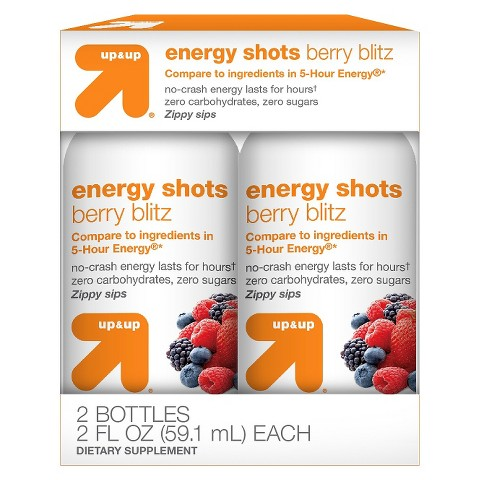 up & up™ Berry Flavor Energy Shots - 2 Count (2 oz Each)