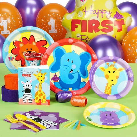 Safari Friends 1st Birthday Standard Party Pack for 16