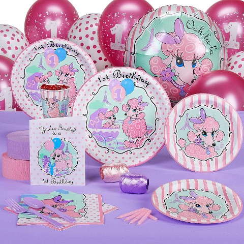 Pink Poodles in Paris 1st Birthday Standard Party Pack for 8