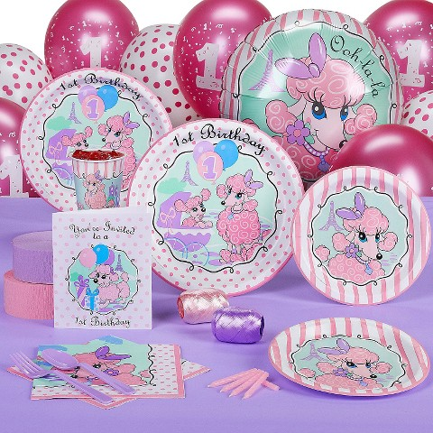 Pink Poodles in Paris 1st Birthday Standard Party Pack for16