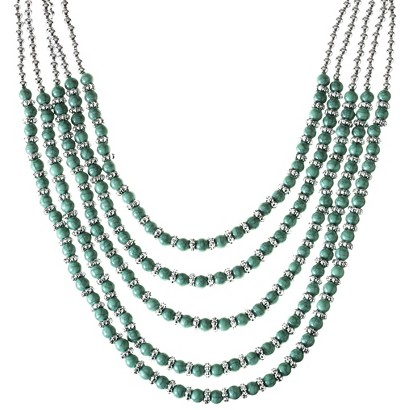 Multi-Strand Turquoise and Silver Beaded Necklace - Turquoise/Silver