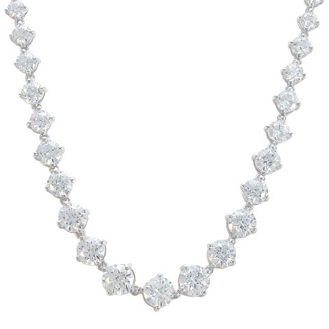 "Sunstone 925 Round Graduated 18"" Necklace With Swarovski Cubic Zirconia Crystals - Silver"