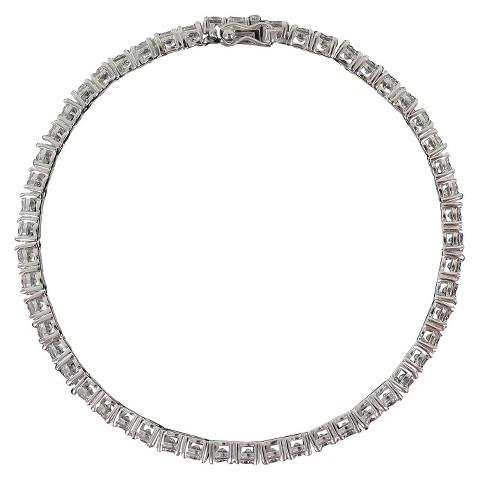 "Sunstone 925 Tennis Bracelet 7.5"" With Swarovski Cubic Zirconia Crystals - Silver"