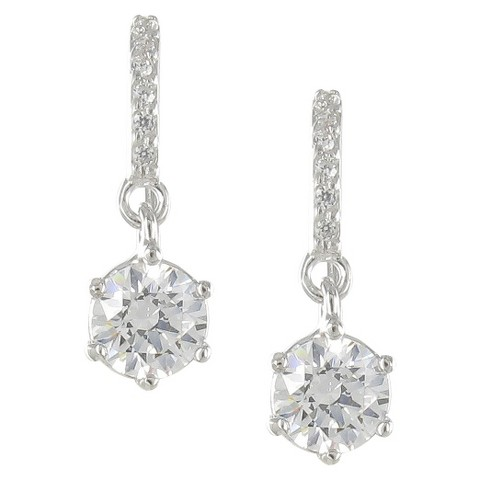 Sunstone 925 Round Drop Earring With Swarovski Cubic Zirconia Crystals - Silver