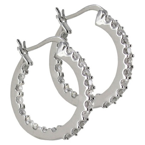Sunstone 925 Hoop Prong In and Out Earrings With Swarovski Cubic Zirconia Crystals - Silver