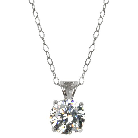 "Sunstone 925 Round Basket Pendant on 18"" Chain With Swarovski Cubic Zirconia Crystals - Silver"