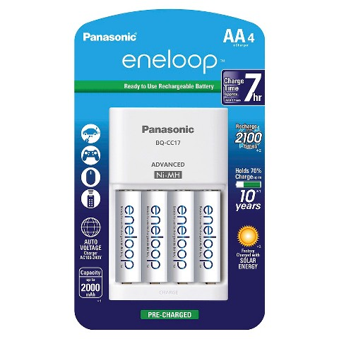 Panasonic Individual Battery Charger (white) w/eneloop AA 2100 cycle, Ni-MH Pre-Charged Rechargeable