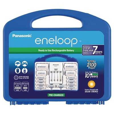 "Panasonic eneloop Power Pack - 2100 cycle, 8AA, 2AAA, 2 ""C"" Spacers, 2 ""D"" Spacers, Individual Battery"