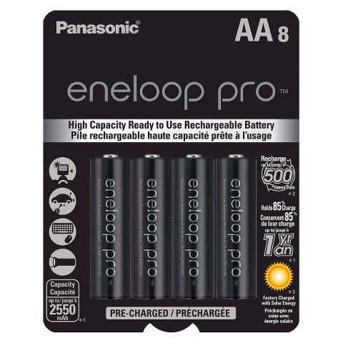 Panasonic eneloop pro AA High Capacity, Ni-MH Pre-Charged Rechargeable Batteries - 8 Pack