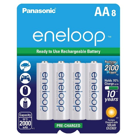 Panasonic eneloop AA 2100 cycle, Ni-MH Pre-Charged Rechargeable Batteries - 8 Pack