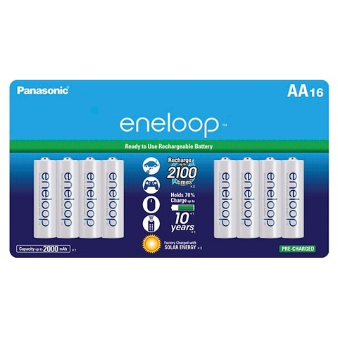 Panasonic eneloop AA 2100 cycle, Ni-MH Pre-Charged Rechargeable Batteries - 16 Pack