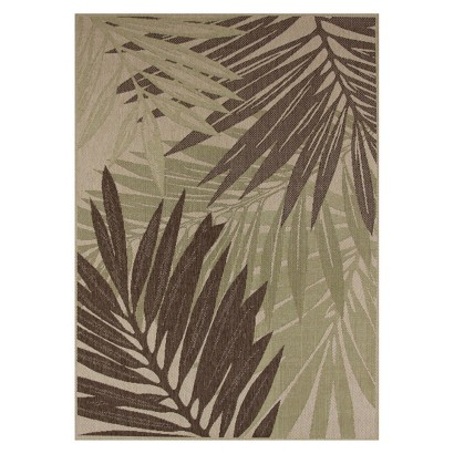 Maywood Rectangular Patio Rug - Green/Sand Leaf