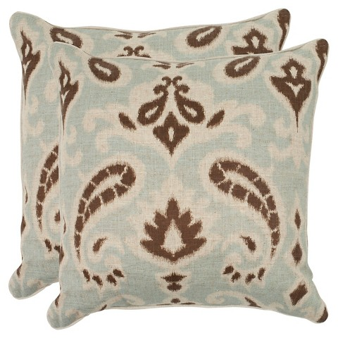 "Safavieh 2-Pack Woven Paisley Toss Pillows (18x18"")"