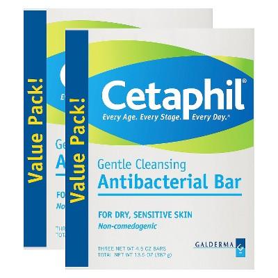 Cetaphil Antibacterial Gentle Cleansing Bars  - 2 Pack
