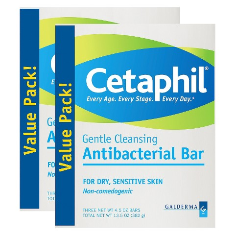 Cetaphil Antibacterial Gentle Cleansing Bars  - 2 Pack