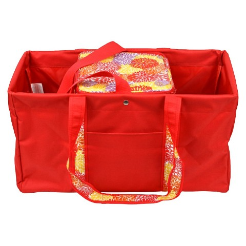 Sachi Red Utility Tote with Insulated Cooler