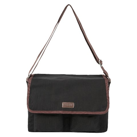 Sachi Black Insulated Canvas Messenger Tote