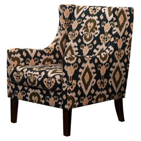 Jackson Upholstered Wingback Chair - Black/Brown Ikat