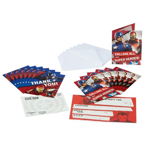 Avengers Birthday Invitations with Thank You Cards (8 count)