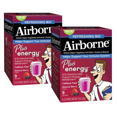 Airborne Plus Energy 2 Pack Immune Support Natural Berry Packets